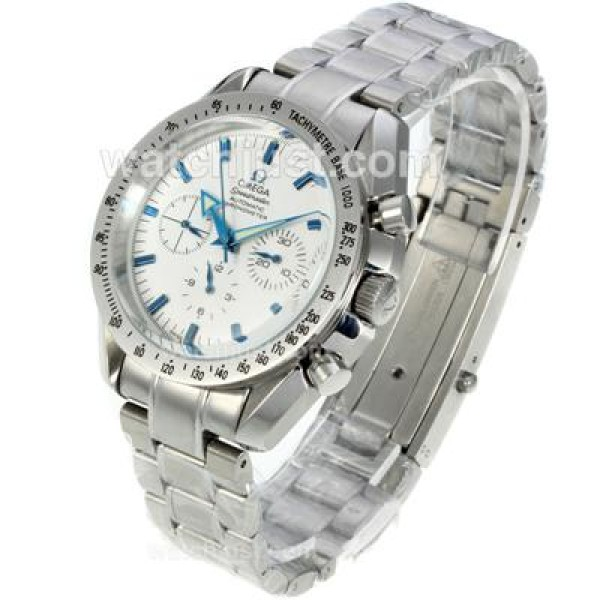 Best UK Sale Omega Speedmaster Automatic Fake Watch With White Dial For Men