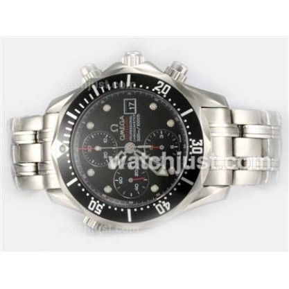 Best UK Sale Omega Seamaster Automatic Replica Watch With Black Dial For Men