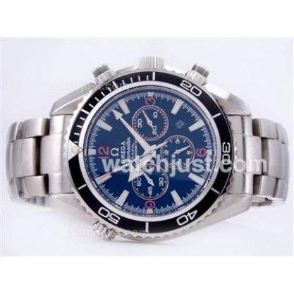 Waterproof UK Omega Seamaster Automatic Replica Watch With Black Dial For Men