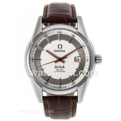 Quality UK Sale Omega Hour Vision Automatic Fake Watch With White And Silvery Dial For Men