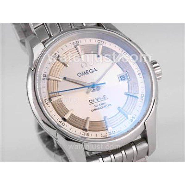 Cheap UK Sale Omega Hour Vision Automatic Fake Watch With Silvery And White Dial For Men