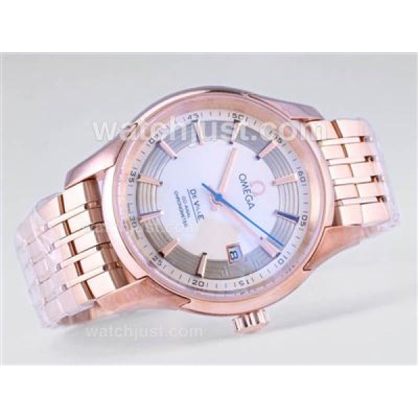 Swiss UK Sale Omega Hour Vision Automatic Replica Watch With White Dial For Men