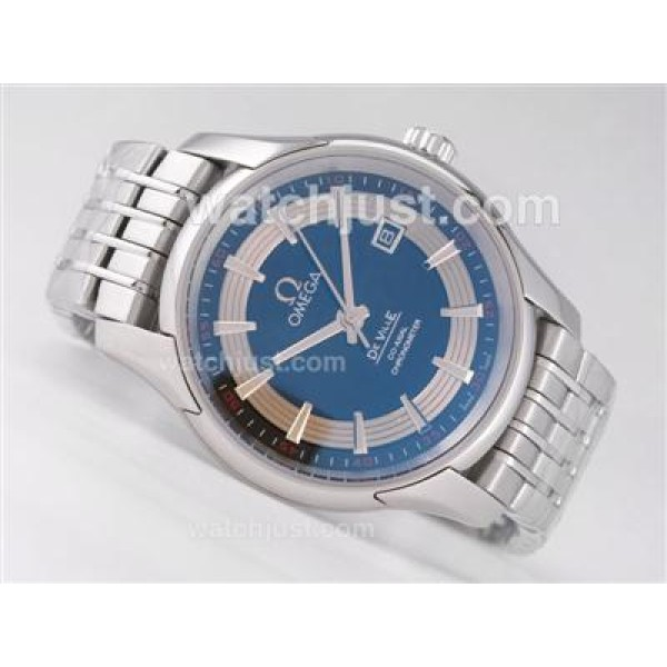 Cheap UK Sale Omega Hour Vision Automatic Fake Watch With Blue And Silvery Dial For Men