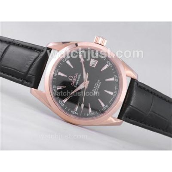 Best UK Sale Omega Railmaster Automatic Fake Watch With Black Dial For Men