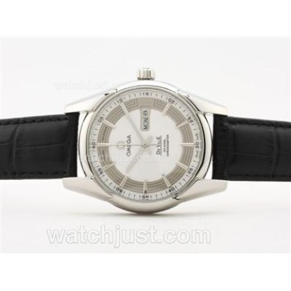 High-Quality UK Sale Omega Hour Vision Automatic Fake Watch With White And Silvery Dial For Men