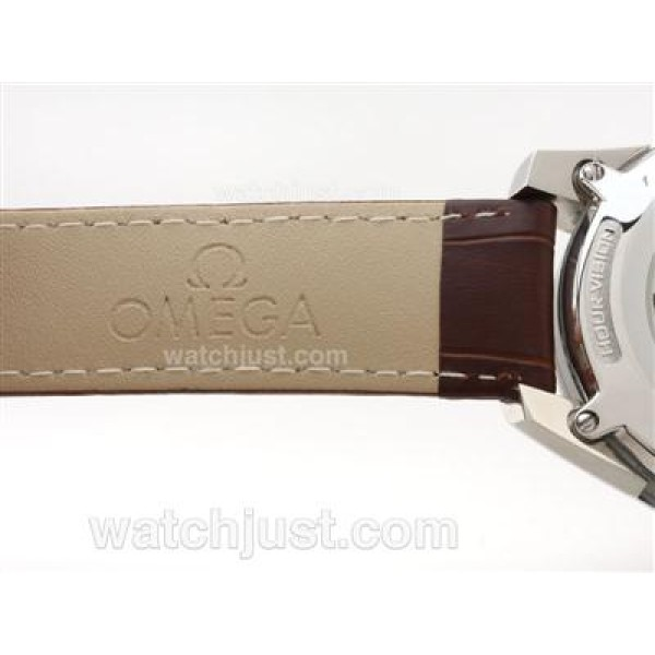 Best UK Sale Omega Hour Vision Automatic Fake Watch With Brown Dial For Men