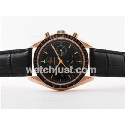 Perfect UK Sale Omega Speedmaster Automatic Replica Watch With Black Dial For Men