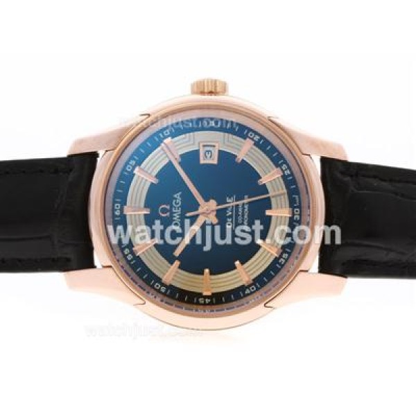 Quality UK Sale Omega Hour Vision Automatic Replica Watch With Blue And Silvery Dial For Men