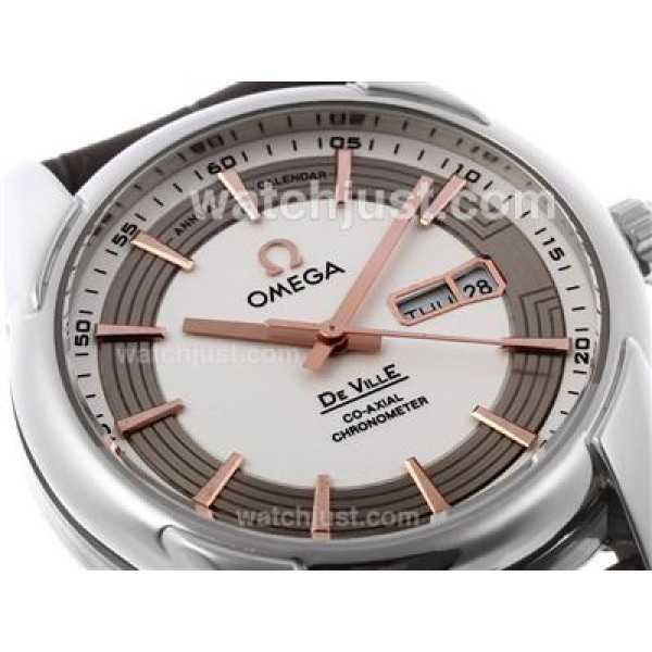 AAA Quality UK Sale Omega Hour Vision Automatic Replica Watch With White And Silvery Dial For Men