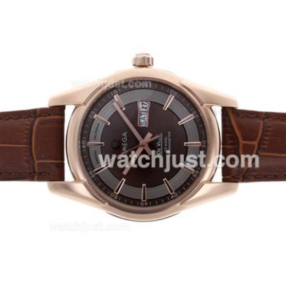 Swiss Made UK Sale Omega Hour Vision Automatic Replica Watch With Brown Dial For Men