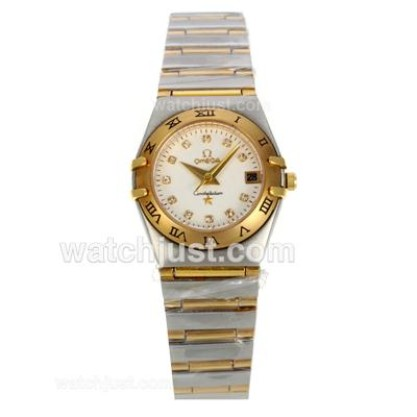 Perfect UK Sale Omega Constellation Quartz Replica Watch With White Dial For Women