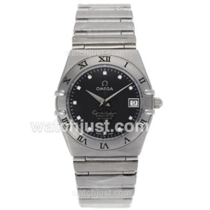 Quality UK Omega Constellation Automatic Fake Watch With Black Dial For Women