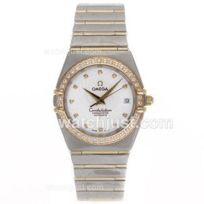 Good Quality UK Omega Constellation Automatic Fake Watch With White Dial For Men
