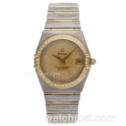 Best UK Omega Constellation Automatic Replica Watch With Champagne Dial For Women
