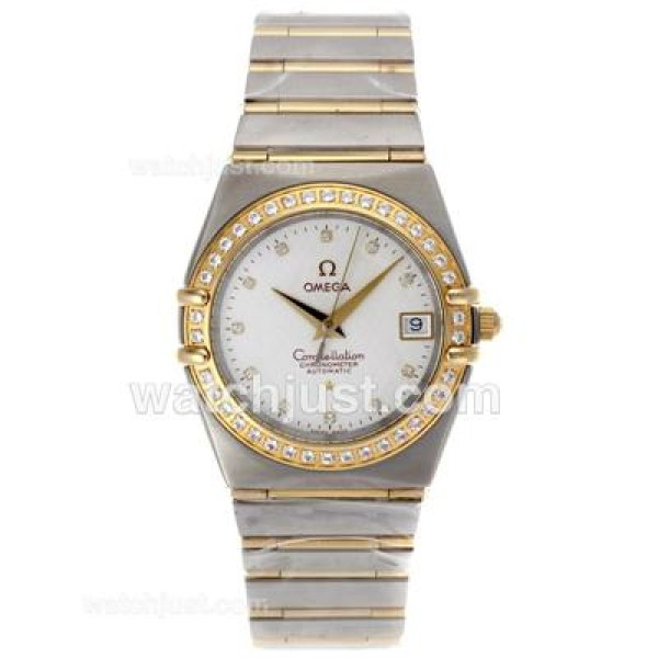 Best-selling UK Omega Constellation Automatic Fake Watch With White Dial For Men