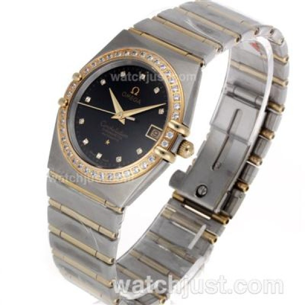 Swiss Movement UK Omega Constellation Quartz Fake Watch With Black Dial For Men