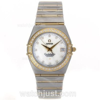 Quality UK Omega Constellation Quartz Replica Watch With White Dial For Men