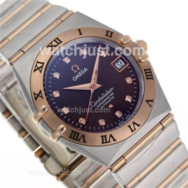 Best UK Omega Constellation Automatic Fake Watch With Brown Dial For Women