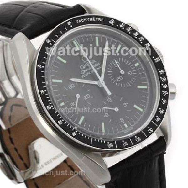 Perfect UK Sale Omega Speedmaster Automatic Fake Watch With Black Dial For Men