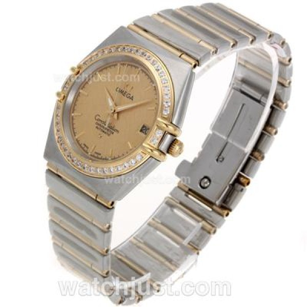 Best UK Omega Constellation Automatic Fake Watch With Champagne Dial For Women
