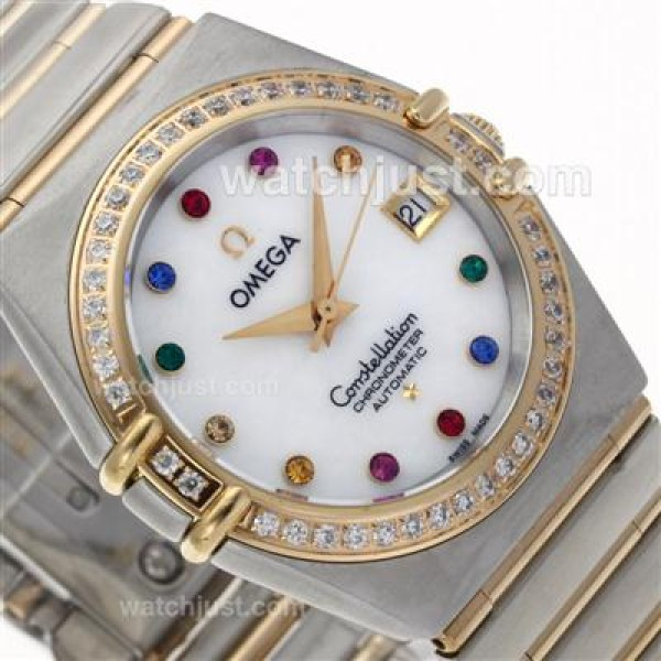 Perfect UK Omega Constellation Automatic Replica Watch With White Dial For Women