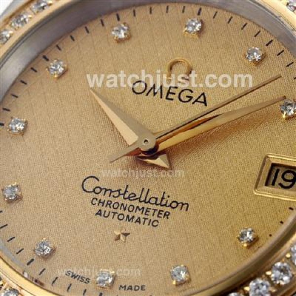 AAA Cheap UK Omega Constellation Automatic Replica Watch With Champagne Dial For Women