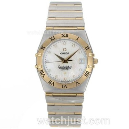 Practical UK Omega Constellation Quartz Fake Watch With White Dial For Men