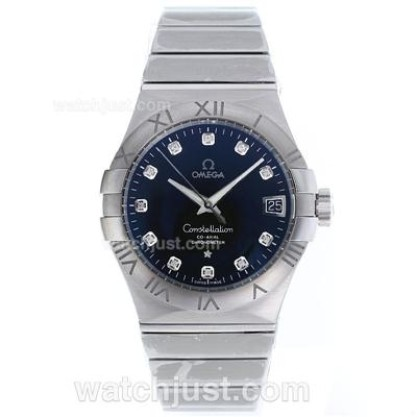 Best UK Omega Constellation Automatic Replica Watch With Blue Dial For Men