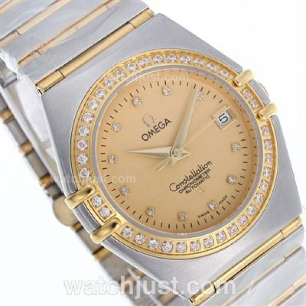 1:1 Best UK Omega Constellation Quartz Fake Watch With Champagne Dial For Women