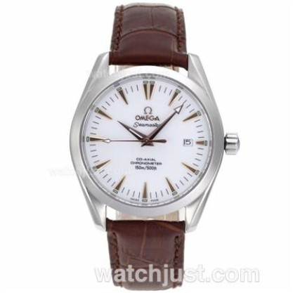 Good Quality UK Sale Omega Seamaster Automatic Replica Watch With White Dial For Men