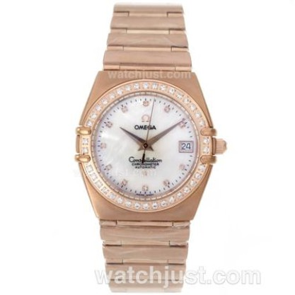 Perfect UK Omega Constellation Quartz Fake Watch With White Dial For Women