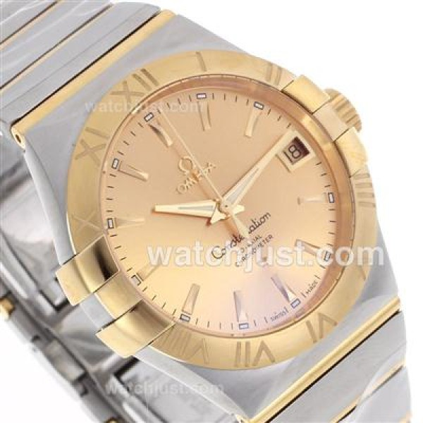 Cheap UK Omega Constellation Automatic Fake Watch With Champagne Dial For Women