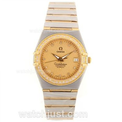 Swiss UK Omega Constellation Automatic Replica Watch With Champagne Dial For Women