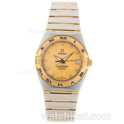Swiss Made UK Sale Omega Constellation Quartz Replica Watch With Champagne Dial For Women
