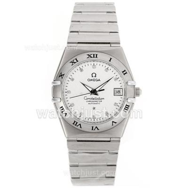 Cheap UK Omega Constellation Automatic Replica Watch With White Dial For Women