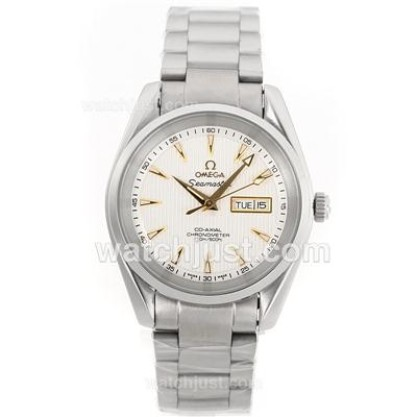 AAA Best UK Sale Omega Seamaster Automatic Fake Watch With White Dial For Men