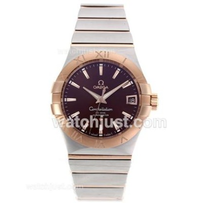 Best UK Omega Constellation Automatic Replica Watch With Black Dial For Women