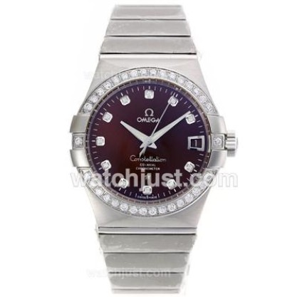 Perfect UK Omega Constellation Automatic Replica Watch With Purple Dial For Men