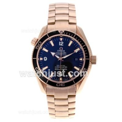 Swiss UK Sale Omega Seamaster Automatic Fake Watch With Black Dial For Men