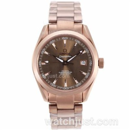 Waterproof UK Omega Seamaster Automatic Replica Watch With Brown Dial For Men