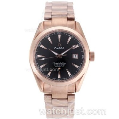 Swiss UK Omega Constellation Automatic Fake Watch With Black Dial For Men
