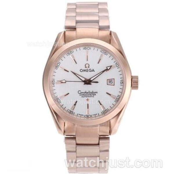 Quality UK Omega Constellation Automatic Fake Watch With White Dial For Men