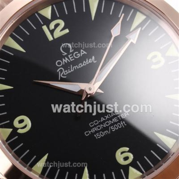 Cheap UK Sale Omega Railmaster Automatic Replica Watch With Black Dial For Men