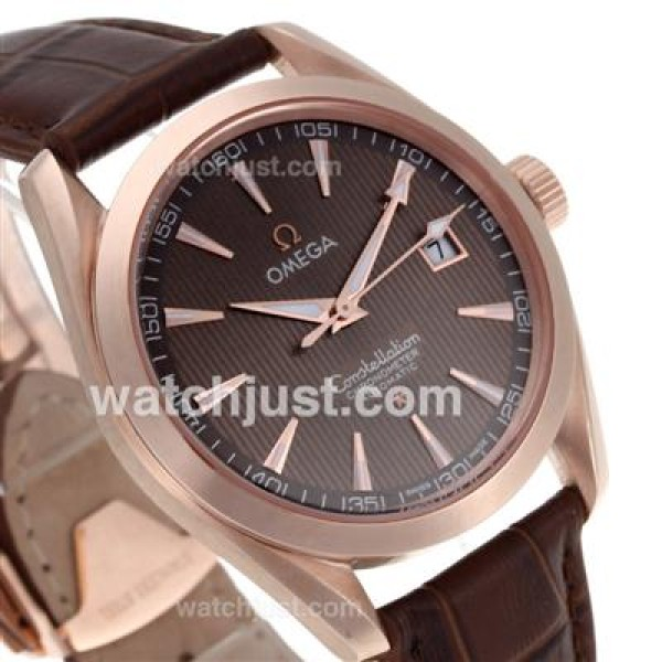 Best UK Omega Constellation Automatic Fake Watch With Brown Dial For Men