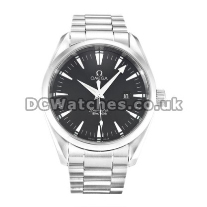 Water Resistant UK Sale Omega Aqua Terra Automatic Replica Watch With Black Dial For Men