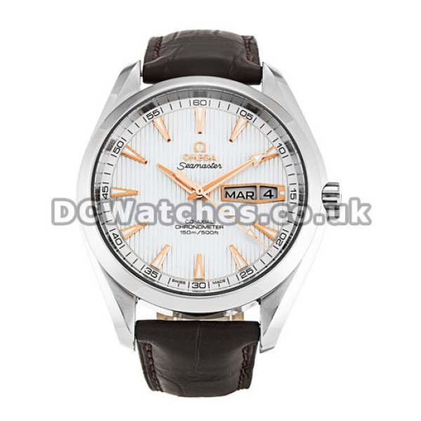 Best UK Sale Omega Aqua Terra Automatic Replica Watch With White Dial For Men