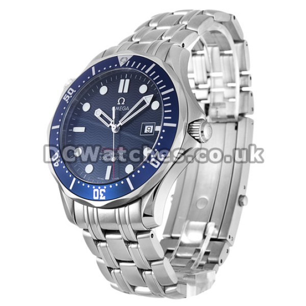 Waterproof UK Sale Omega Seamaster Automatic Fake Watch With Blue Dial For Men