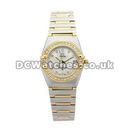 Best UK Sale Omega Constellation Quartz Fake Watch With White Dial For Women