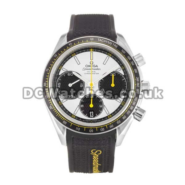 Perfect UK Sale Omega Speedmaster Quartz Replica Watch With White Dial For Men
