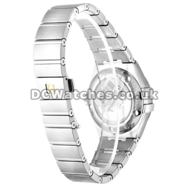 Swiss UK Omega Constellation Automatic Fake Watch With White Dial For Women